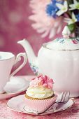 pic of shabby chic  - Afternoon tea served with a flower cupcake - JPG
