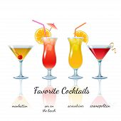 pic of cosmopolitan  - Favorite Cocktails Set isolated - JPG