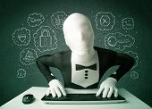 image of virus scan  - Hacker in mask morphsuit with virus and hacking thoughts on green background - JPG