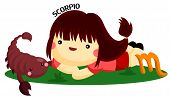 image of scorpio  - a girl and a scorpion describing scorpio sign - JPG