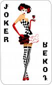 image of clown face  - Joker game card with the image of the red and white joker vector - JPG