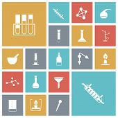 picture of retort  - Flat design icons for chemistry lab - JPG