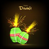 image of diwali  - Illustration of exploding crackers with stylish text of Diwali for Diwali celebration on shiny black background - JPG