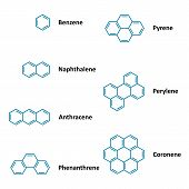 stock photo of naphthalene  - Set of vector polyaromatic hydrocarbons chemical structural formulas - JPG