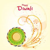 foto of diwali  - Stylish text of Diwali with exploding cracker for Diwali celebration on shiny beige background - JPG