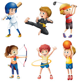 foto of hulahoop  - Illustration of the teenagers engaging in different activities on a white background - JPG