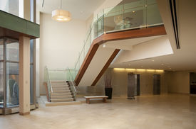 stock photo of modern building  - Modern office building lobby in marble - JPG