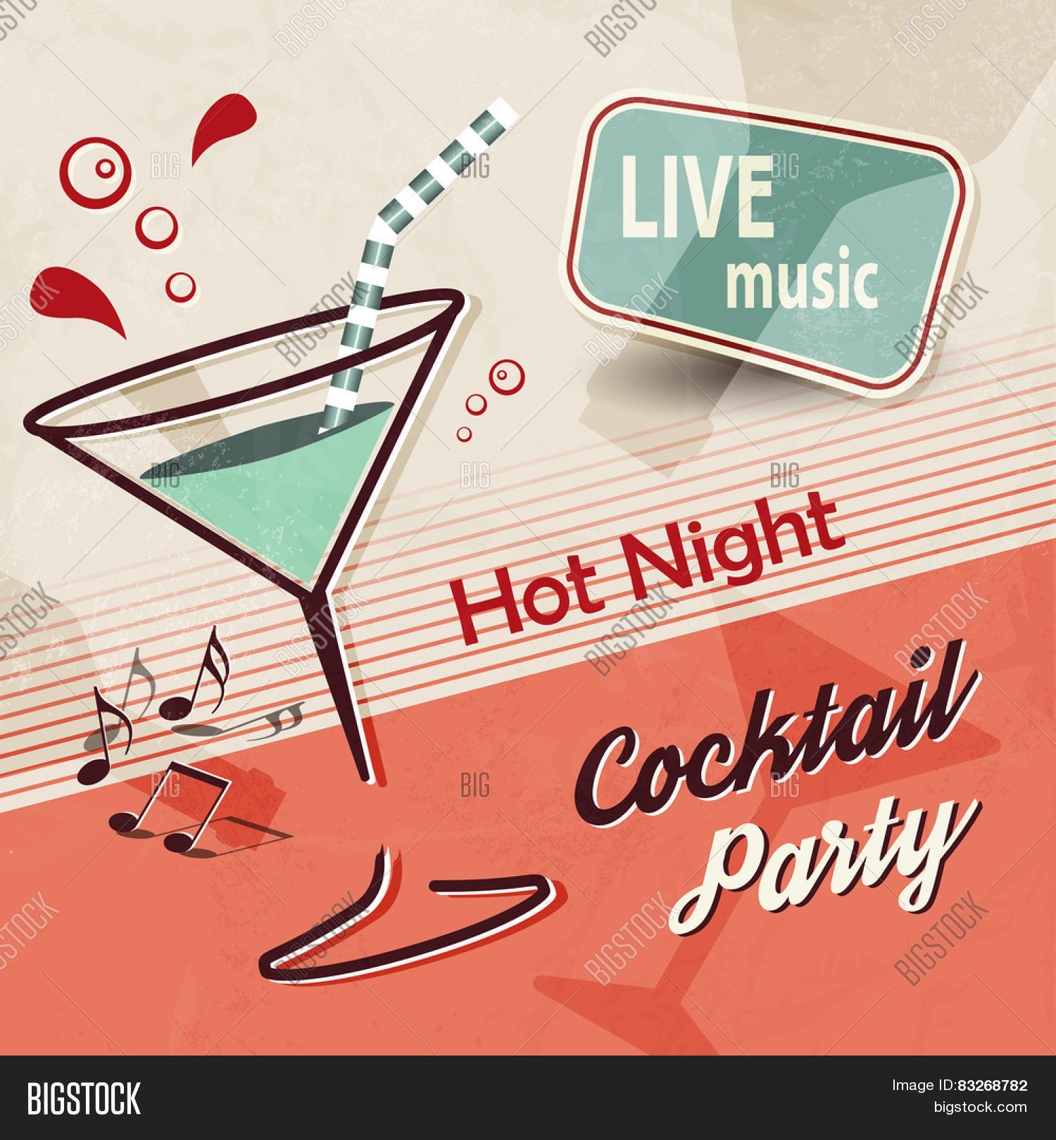 Poster design notes - Summer Party Invitation With Cocktail Glass And Music Notes Retro Poster Design