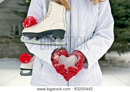 girl with ice heart and ice skates