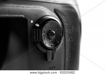 Digital camera on gray background