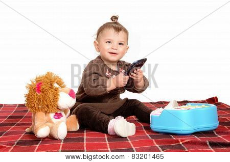 Baby Playing With Cell Phone.