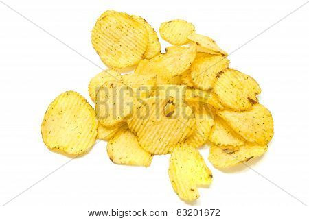 Tasty Corrugated Potato Chips On White