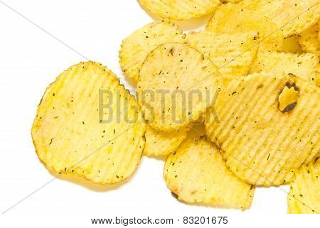 Many Corrugated Potato Chips Closeup