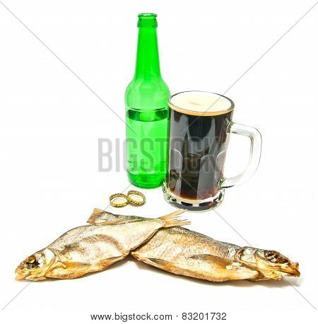 Salted Fishes And Glass Of Dark Beer