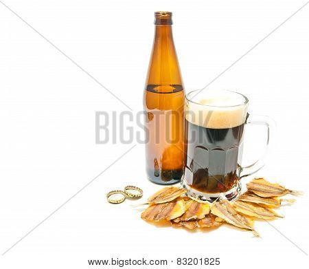 Dark Beer And Fish Appetizer