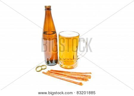 Fish Snack And Light Beer On White