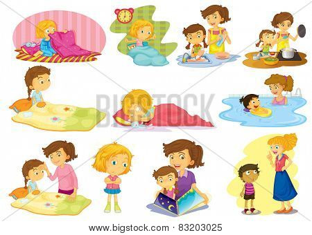 Illustration of children doing many activities