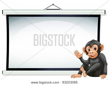 Illustration of a monkey sitting in front of a screen