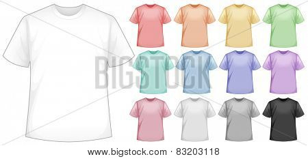 Illustration of many color t-shirts