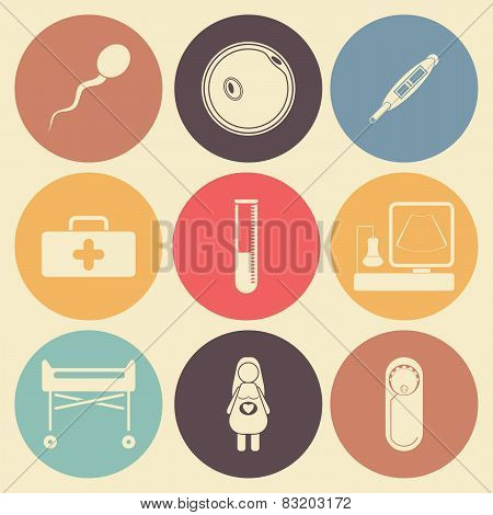Pregnantcy Flat Icon Set In Color Circles