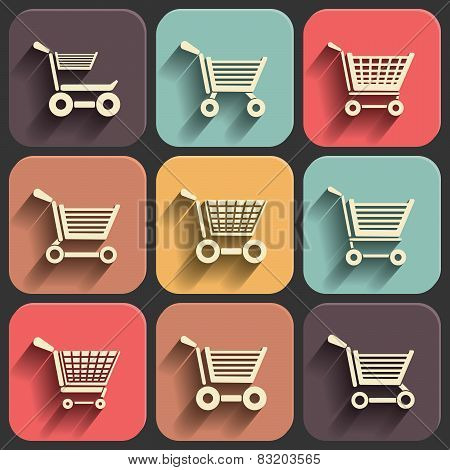 Shoping Cart Flat Icon Set On Color Fade Shadow Effect