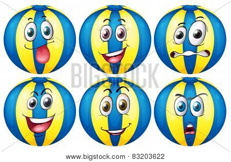Illustration of beach ball with facial expressions