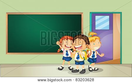 Illustration of three students in the classroom