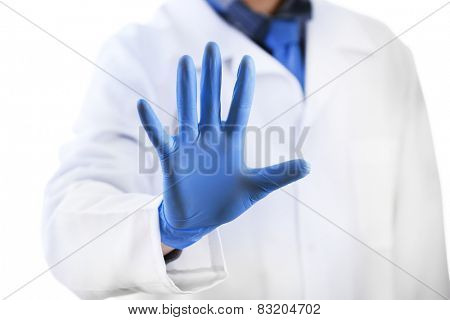 Doctor hand in sterile gloves isolated on white