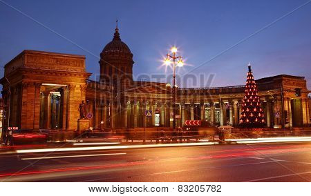 The Russian Federation, Saint Petersburg, Kazan Cathedral In The Evening Light. Christmas Decoration