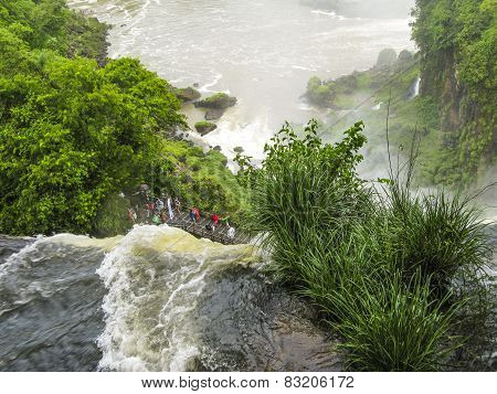 Iguassu Waterfall In South America Tropical Jungle