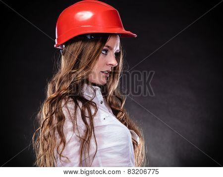 Woman In Red Helmet.