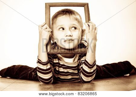 Little Funny Boy Child Portrait