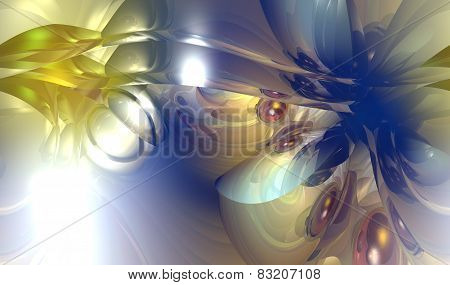 3D illustration of abstrac colored