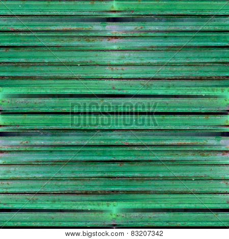 green seamless grunge texture of old iron shutters