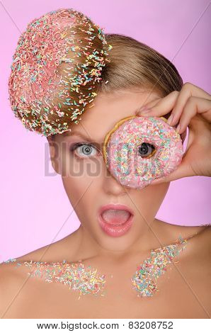 Surprised Woman, Donut On Head And Front Of Eye