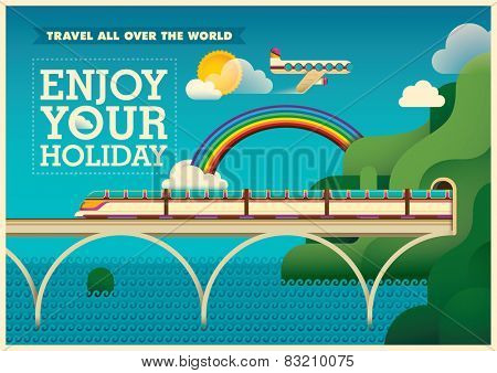Traveling illustration in color. Vector illustration.