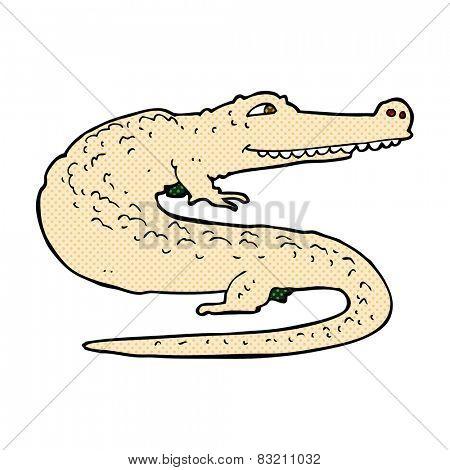 retro comic book style cartoon alligator