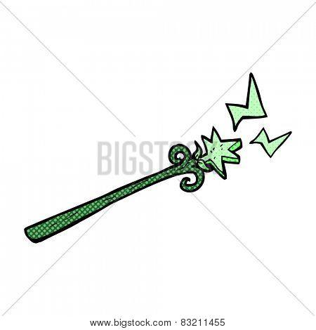 retro comic book style cartoon magic wand