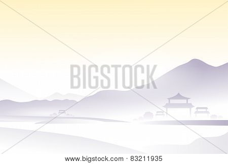 asia landscape china village mountain vector