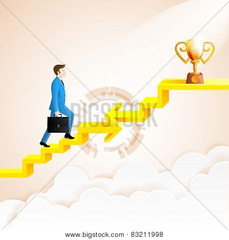 Businessman Going Up To The Success With Arrow Connection Staircase Go To The Trophies.arrow In Impo