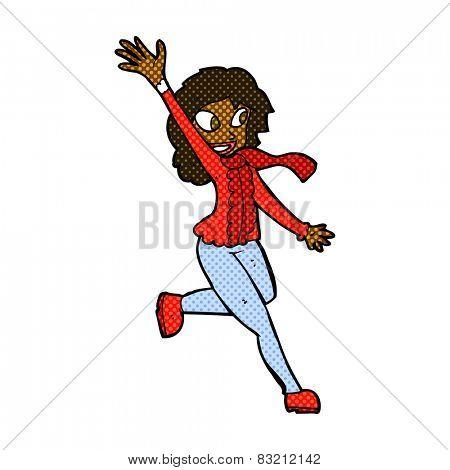 retro comic book style cartoon woman waving dressed for winter