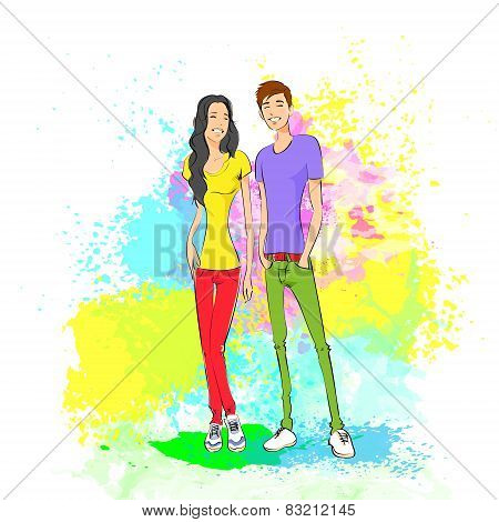 couple casual clothes over colorful paint splash background