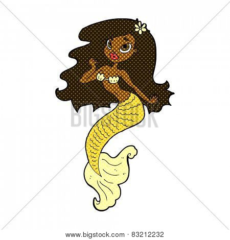 retro comic book style cartoon pretty mermaid
