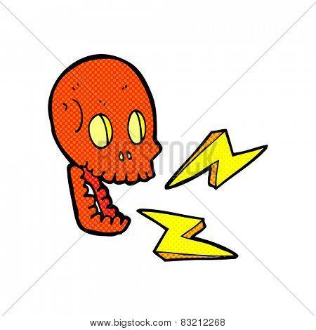 retro comic book style cartoon crazy skull