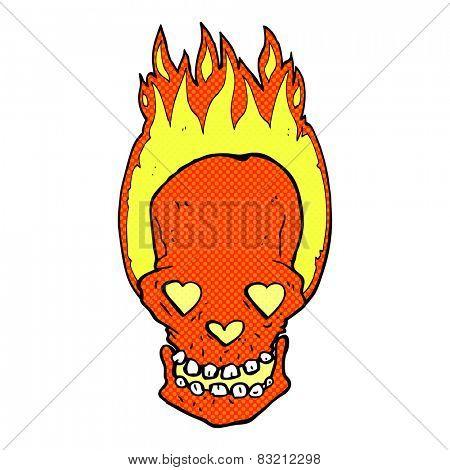 retro comic book style cartoon flaming skull with love heart eyes