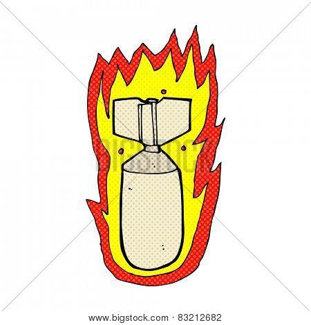 retro comic book style cartoon flaming bomb