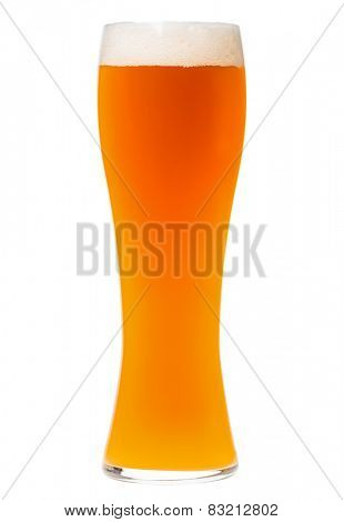 Full tall glass of german or belgian wheat bear isolated on white background