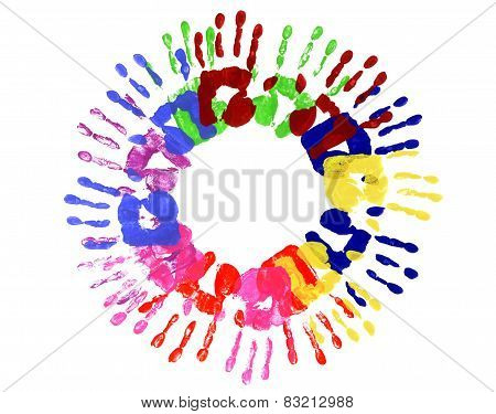 Handprints Circle Multicolor