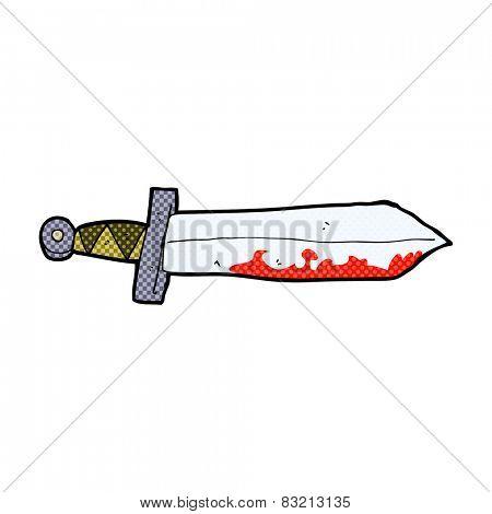 retro comic book style cartoon bloody sword