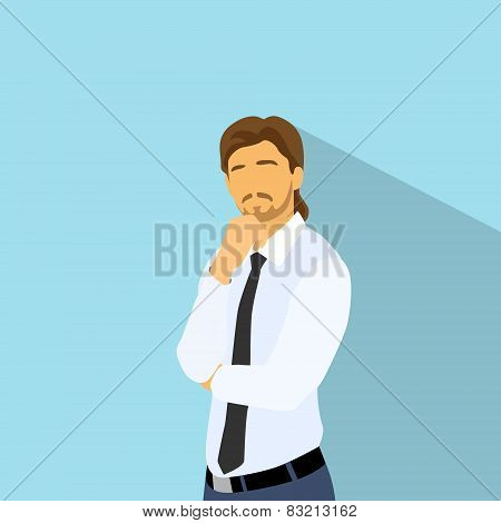 Businessman think hold hand on chin, business man flat icon
